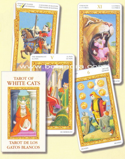 Cartas tarot mini gatos blancos