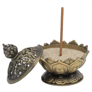 Incensario Lotus color bronce 15697